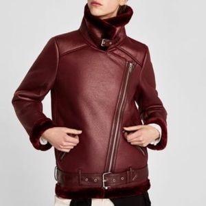 Zara maroon faux fur leather biker jacket coat NEW
